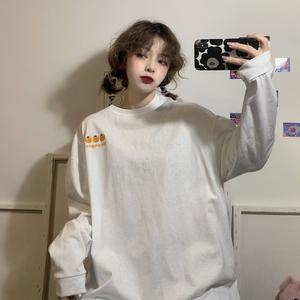 长袖t恤女装韩版宽松早春秋季白色中长款上衣服2020新款学生ins潮