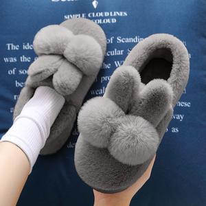 毛毛拖鞋女外穿加绒棉拖鞋女士包跟情侣居家防滑包头可爱兔子冬季