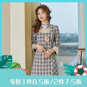 安妮陈原创设计法式复古格子连衣裙女2021春秋新款小众修身小裙子