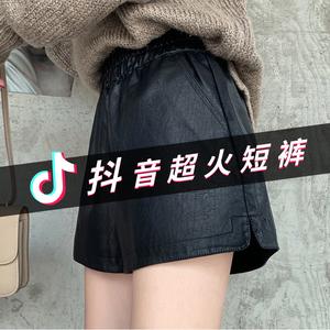 皮短裤女2019新款秋冬季外穿时尚阔腿宽松pu皮裤百搭高腰大码显瘦