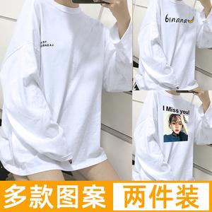 2020春秋季长袖t恤女韩版宽松中长款上衣白色大码ins超火打底衫潮