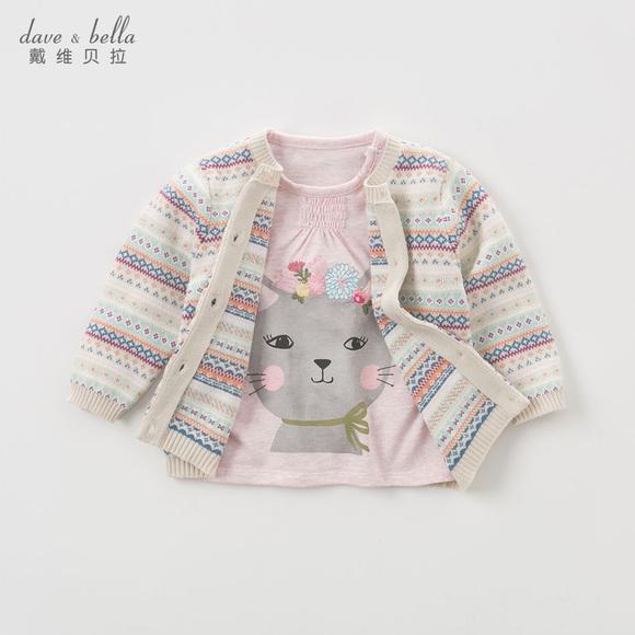 davebella戴维贝拉春秋季女童针织衫 宝宝七色提花开衫毛衣DB5747