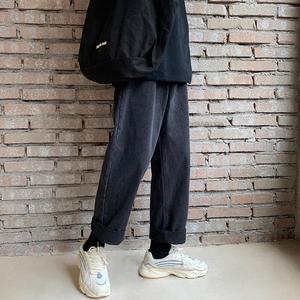 2019冬季新款韩版黑色直筒牛仔裤男士宽松休闲潮流港风老爹裤长裤