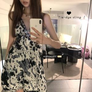 性感绑带设计感复古扎染吊带裙女装裙子春季气质显瘦收腰连衣裙潮