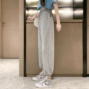 灰色运动裤女夏季薄款ins潮阔腿休闲裤子宽松束脚小个子工装卫裤