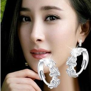 包邮花朵925纯银耳环耳圈耳扣 女韩国时尚气质耳饰品耳坠 防过敏