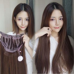 假发片女长直发U型半头套隐形无痕贴发蓬松自然补接发片韩式发型