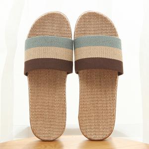 【天天特价】拖鞋夏季亚麻拖鞋家居拖鞋男凉拖鞋女室内木地板凉拖