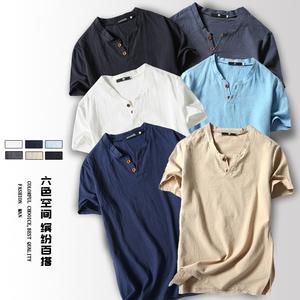 中国男士短袖亚麻t恤男装大码加肥胖子宽松棉麻布衣日式唐装风潮
