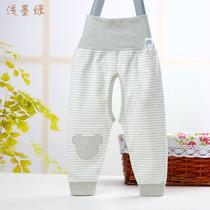 纯棉宝宝秋裤护肚裤子 单条0-1婴儿高腰裤开档儿童彩棉打底裤开裆