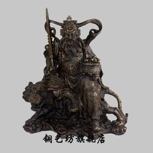 铜艺坊 纯铜骑羊单坚护法神像摆件密宗藏传佛教背光骑