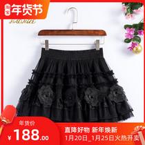洋装蓬蓬短裙2020秋季新款黑色网纱仙女裙蕾丝绣花朵蛋糕裙半身裙