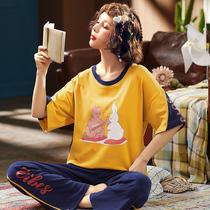 春夏少女纯棉睡衣短袖长裤女士甜美卡通大码可外穿休闲家居服套装
