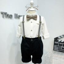 男宝宝洋气白衬衫背带裤花童秋季男童帅气英伦风周岁礼服儿童套装