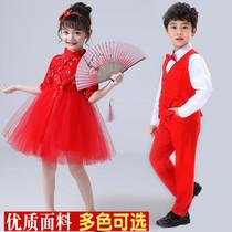 儿童合唱服演出服中国风女童舞蹈蓬蓬裙小学生男背带裤诗歌朗诵服