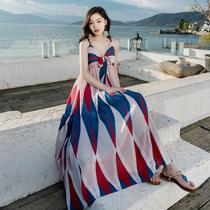 2020夏天新款小个子雪纺吊带连衣裙长裙超仙三亚海边度假沙滩裙女