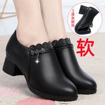妈妈鞋春秋款真皮软底女舒适单鞋中跟中年女鞋子百搭妇女深口皮鞋