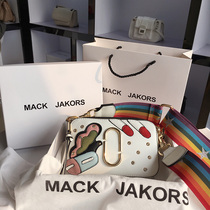 香港MackJakors正品真皮少女包包卡通百搭小方包宽肩带斜跨相机包