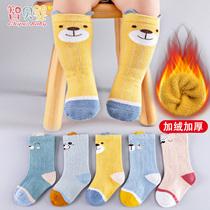 新生婴儿袜子秋冬季纯棉加绒加厚保暖长筒男女宝宝幼儿童中筒1岁0