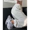 春秋灰色束脚运动裤女夏高腰宽松显瘦阔腿直筒裤休闲白色哈伦卫裤