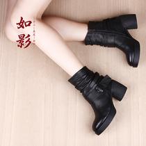 如影原创新款欧美复古粗跟高跟马丁靴女防水台软牛皮小短靴女靴子