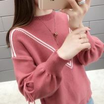 网红低领毛衣女装新款短款蝴蝶结宽松打底针织衫秋季上衣女冬17
