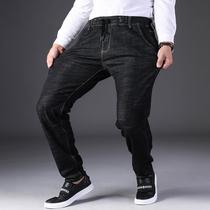春夏款松紧腰大码牛仔裤男士高腰黑色潮胖子加肥加大号宽松肥佬裤