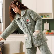 睡衣女士冬季珊瑚绒夹棉三层加厚保暖法兰绒可爱秋冬天家居服加绒