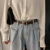 夏季黑色小皮带女士ins风牛仔裤腰带百搭细窄裤带配饰装饰复古女