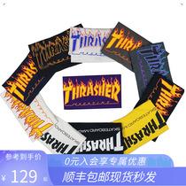 愚人潮社 Thrasher Flame正品美版紫色火焰短袖滑板潮牌T恤王一博