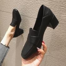 小皮鞋女2020新款乐福鞋加绒黑色高跟单鞋粗跟女鞋英伦风鞋子秋冬