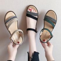 防滑坡跟凉鞋女平底鞋中跟软底学生鞋2021新款工作妈妈孕妇女鞋子