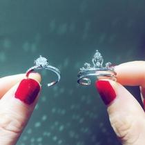 抖音戒指网红同款旋转戒女指环皇冠个性日韩关节戒潮人开口食指戒