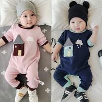 新生婴幼儿连体哈衣春秋装纯棉爬服男女宝宝连身衣5个月外出衣服