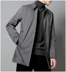 高端压胶中长款男风衣春季新款纯色简约男士翻领外套薄也有夹棉款