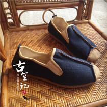 纯麻草编鞋复古手工麻鞋云南大理民族风牛筋软底坡跟文艺情侣鞋男