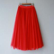 维恩家2020春秋冬季新款红色显瘦高腰中长裙网纱裙蓬蓬裙半身裙女