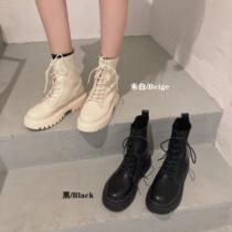 马丁靴女针织靴2020秋季新款时尚英伦风百搭系带厚底拼接短靴子