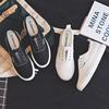 夏季薄款黑色帆布鞋女鞋2020年新款平底球鞋一脚蹬懒人布鞋单鞋子