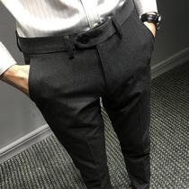 夏季休闲西裤男修身小脚韩版裤子男长裤男士九分裤潮流商务西装裤