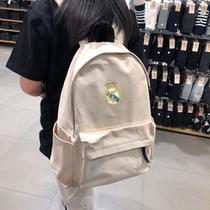 皇马球迷用品纪念品 皇马大容量帆布双肩背包 皇马球迷背包书包