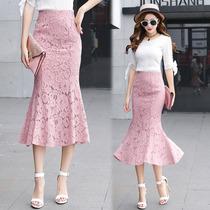 蕾丝包臀半身裙女夏2020新款中长款韩版高腰a型中裙修身蕾丝包裙