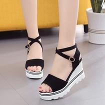 夏季韩版坡跟高跟罗马鞋厚底学生凉鞋女交叉松糕底防水台女鞋46