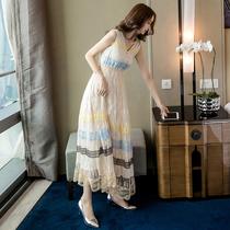 超仙气质蕾丝长裙2020女夏季新款性感名媛长款裙子显瘦法式连衣裙