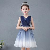 夏季女童渐变色网纱裙子儿童公主裙蓬蓬宝宝连衣裙小女孩礼服洋气
