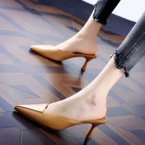 简约气质包头中跟尖头拖鞋女凉拖2021夏季韩版百搭通勤细跟高跟鞋