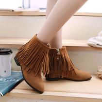 冬季女鞋大码侧拉链磨砂流苏靴尖头中跟粗跟短靴女春秋单靴及踝靴