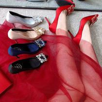 新娘结婚鞋红色2021新款尖头细高跟秀禾服水钻方扣女单鞋伴娘百搭