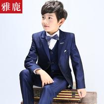 雅鹿童装男童西装套装三件套小西装钢琴演出服花童礼服儿童西服男
