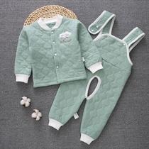 婴儿保暖内衣套装背带裤纯棉夹棉新生儿童男女宝宝衣服春秋季外套